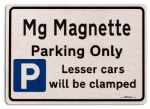 Mg Magnette Car Owners Gift| New Parking only Sign | Metal face Brushed Aluminium Mg Magnette Model